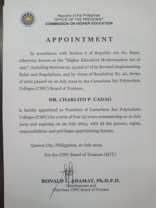 Appointment of Dr. Charlito P. Cadag