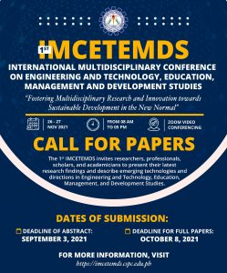 International Multidisciplinary Conference on Engineering and Technology, Education, Management and Development Studies (IMCETEMDS)