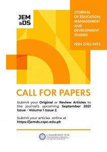 Journal of Education Management and Development Studies (JEMDS) September 2021 Issue - Volume 1 Issue 2